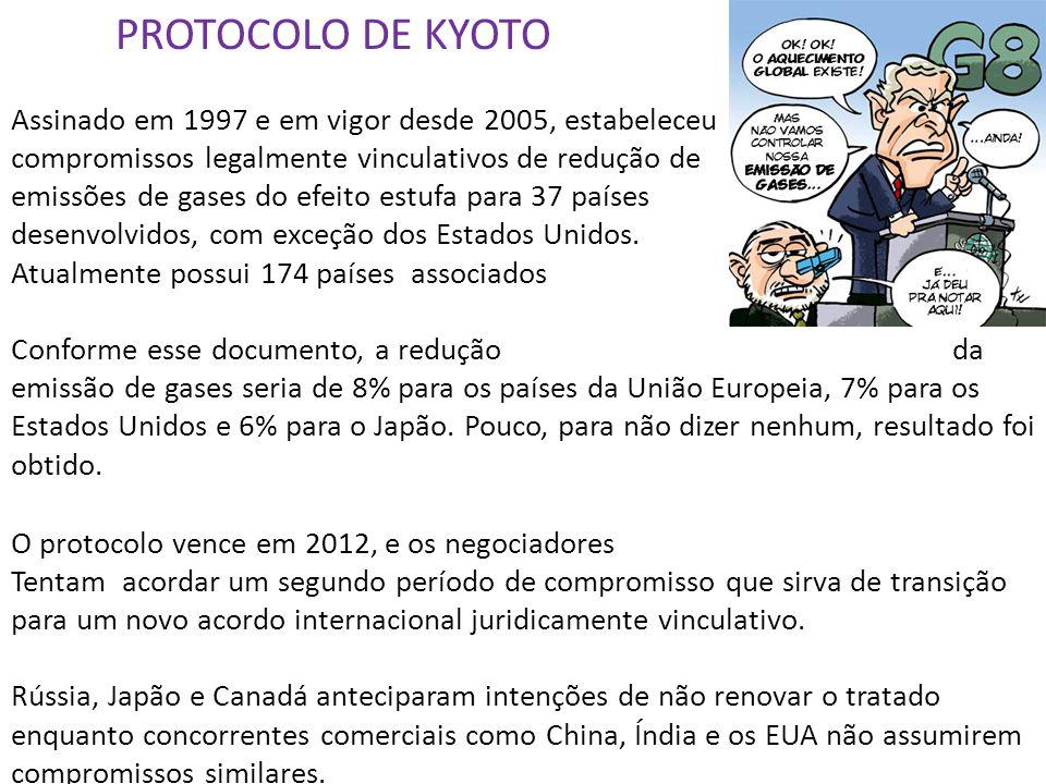 PROTOCOLO DE KYOTO Assinado em 1997 e em vigor desde 2005, estabeleceu compromissos legalmente vinculativos de redução de emissões de gases do efeito