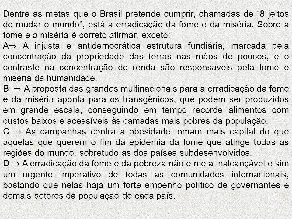 """Dentre as metas que o Brasil pretende cumprir, chamadas de """"8 jeitos de mudar o mundo"""", está a erradicação da fome e da miséria. Sobre a fome e a misé"""