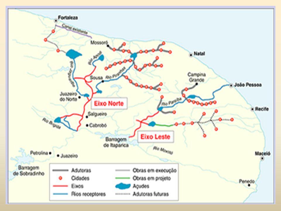 OBJETIVO Para abastecer rios menores e açudes no semiárido nordestino, a transposição do rio São Francisco vai desviar uma pequena parcela do volume do rio por meio de dutos e canais.