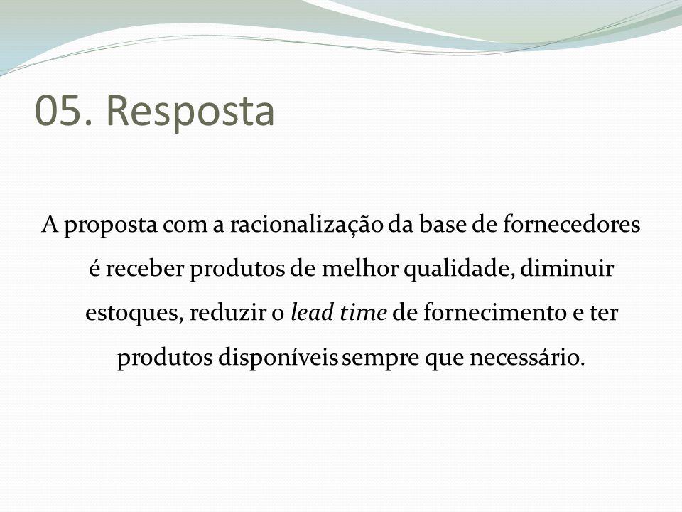 05. Resposta A proposta com a racionalização da base de fornecedores é receber produtos de melhor qualidade, diminuir estoques, reduzir o lead time de