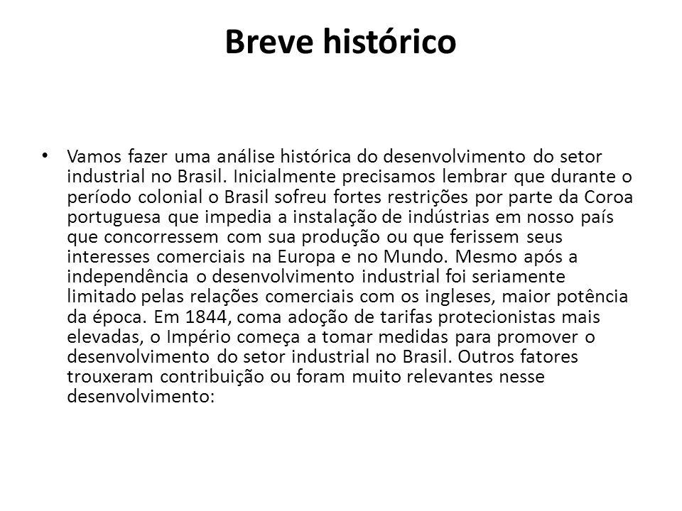 Breve histórico Vamos fazer uma análise histórica do desenvolvimento do setor industrial no Brasil. Inicialmente precisamos lembrar que durante o perí