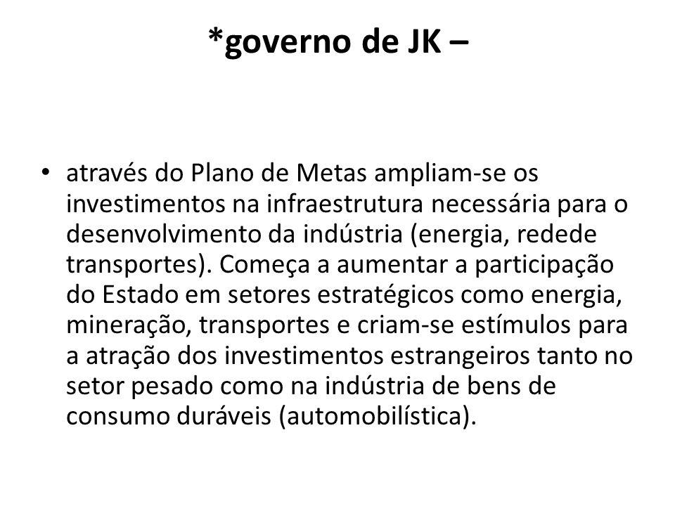*governo de JK – através do Plano de Metas ampliam-se os investimentos na infraestrutura necessária para o desenvolvimento da indústria (energia, rede