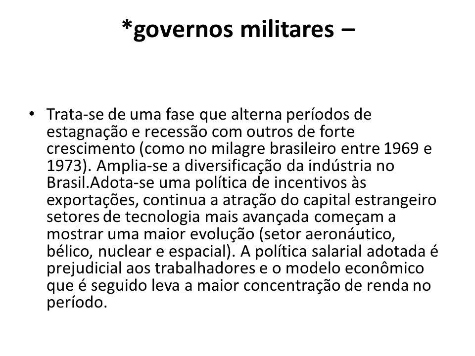*governos militares – Trata-se de uma fase que alterna períodos de estagnação e recessão com outros de forte crescimento (como no milagre brasileiro e