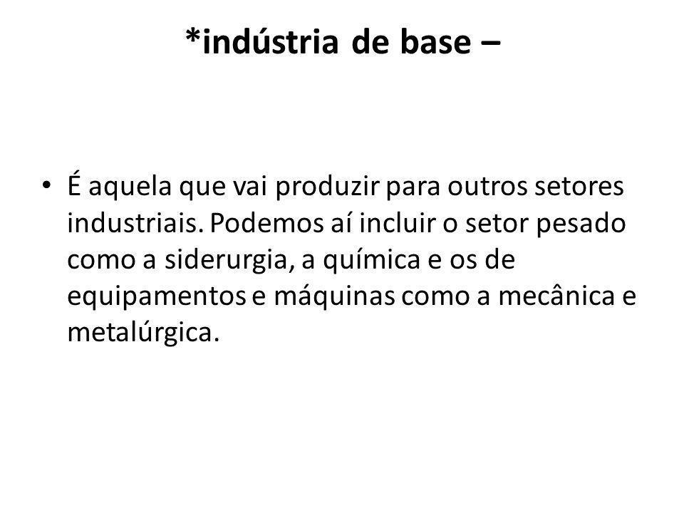 *indústria de base – É aquela que vai produzir para outros setores industriais. Podemos aí incluir o setor pesado como a siderurgia, a química e os de