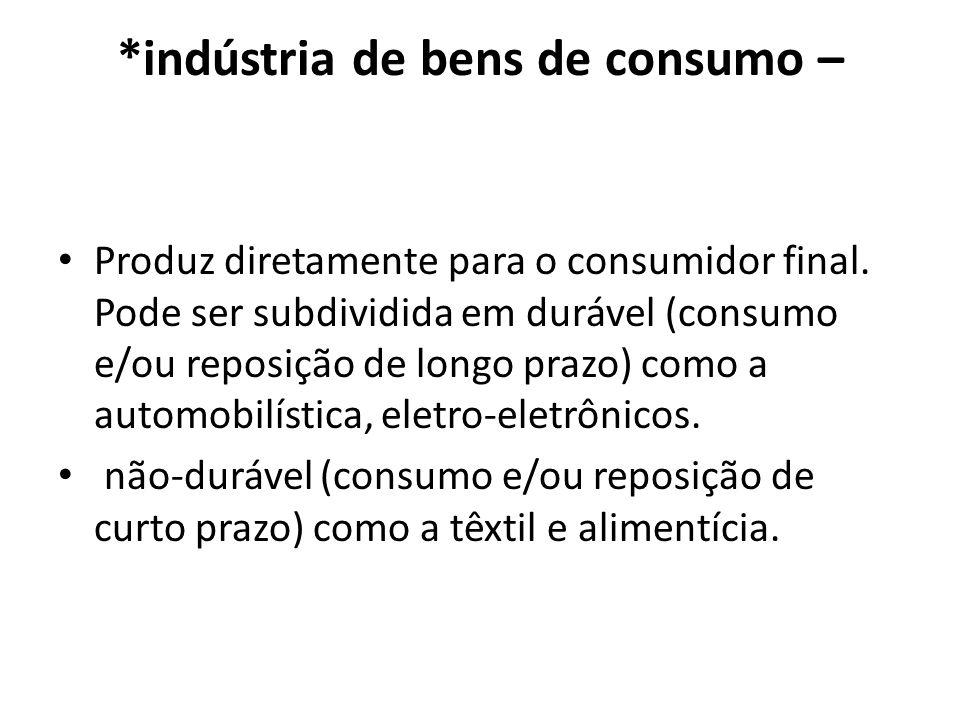 *indústria de bens de consumo – Produz diretamente para o consumidor final. Pode ser subdividida em durável (consumo e/ou reposição de longo prazo) co