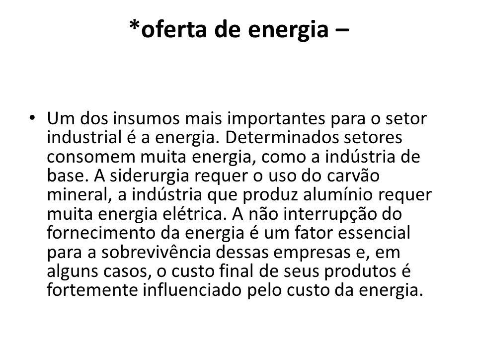 *oferta de energia – Um dos insumos mais importantes para o setor industrial é a energia. Determinados setores consomem muita energia, como a indústri