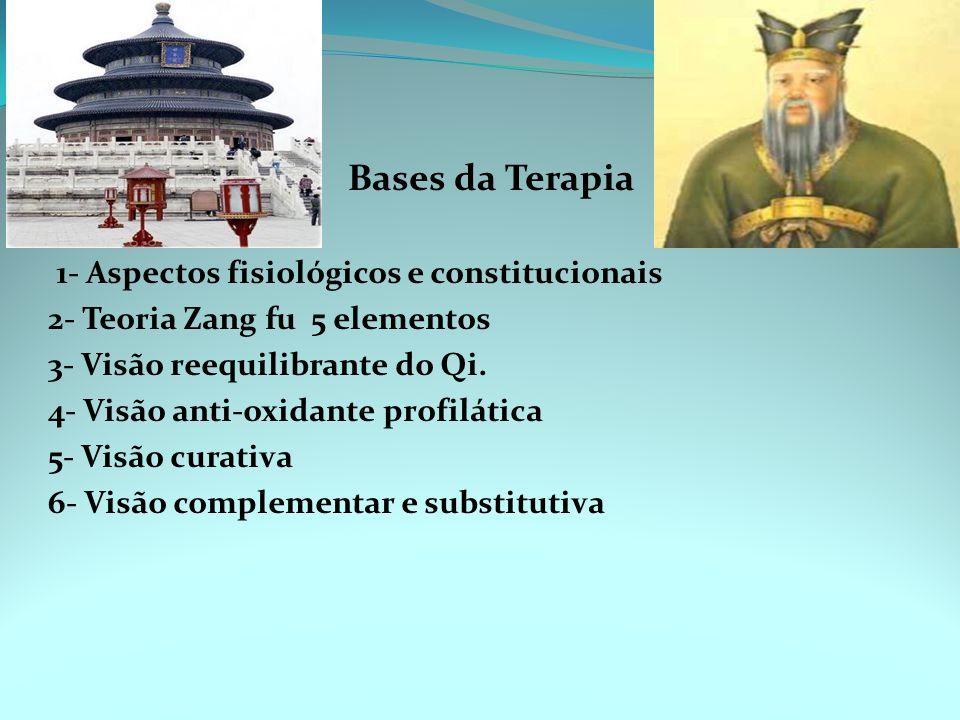 1- Aspectos fisiológicos e constitucionais 2- Teoria Zang fu 5 elementos 3- Visão reequilibrante do Qi.