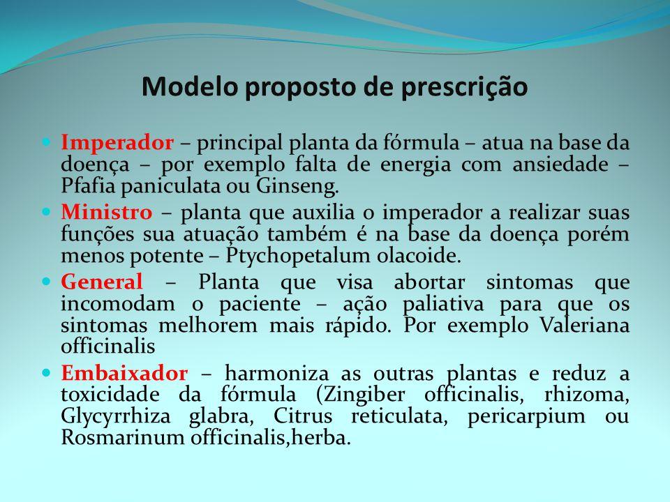 Modelo proposto de prescrição Imperador – principal planta da fórmula – atua na base da doença – por exemplo falta de energia com ansiedade – Pfafia paniculata ou Ginseng.
