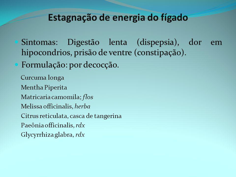 Estagnação de energia do fígado Sintomas: Digestão lenta (dispepsia), dor em hipocondrios, prisão de ventre (constipação).
