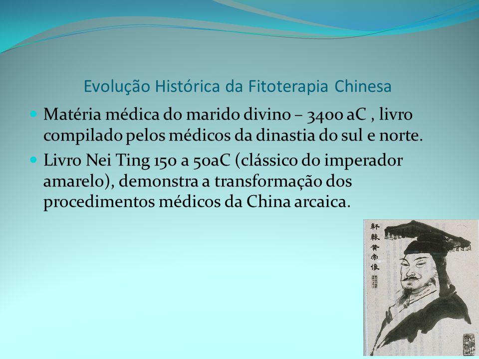 Evolução Histórica da Fitoterapia Chinesa Matéria médica do marido divino – 3400 aC, livro compilado pelos médicos da dinastia do sul e norte.