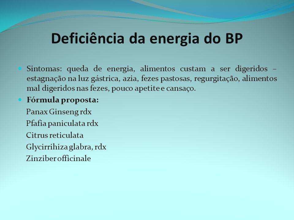 Deficiência da energia do BP Sintomas: queda de energia, alimentos custam a ser digeridos – estagnação na luz gástrica, azia, fezes pastosas, regurgitação, alimentos mal digeridos nas fezes, pouco apetite e cansaço.