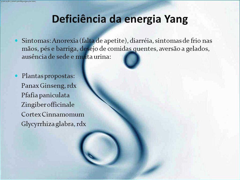Deficiência da energia Yang Sintomas: Anorexia (falta de apetite), diarréia, sintomas de frio nas mãos, pés e barriga, desejo de comidas quentes, aversão a gelados, ausência de sede e muita urina: Plantas propostas: Panax Ginseng, rdx Pfafia paniculata Zingiber officinale Cortex Cinnamomum Glycyrrhiza glabra, rdx