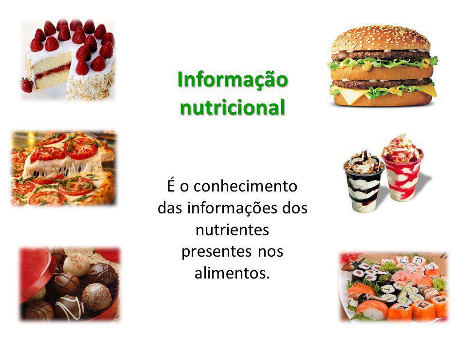 Informação nutricional É o conhecimento das informações dos nutrientes presentes nos alimentos.