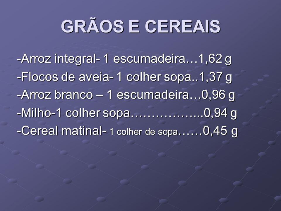 GRÃOS E CEREAIS -Arroz integral- 1 escumadeira…1,62 g -Flocos de aveia- 1 colher sopa..1,37 g -Arroz branco – 1 escumadeira…0,96 g -Milho-1 colher sopa……………...0,94 g -Cereal matinal- 1 colher de sopa ……0,45 g