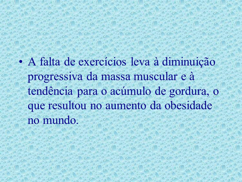 A falta de exercícios leva à diminuição progressiva da massa muscular e à tendência para o acúmulo de gordura, o que resultou no aumento da obesidade