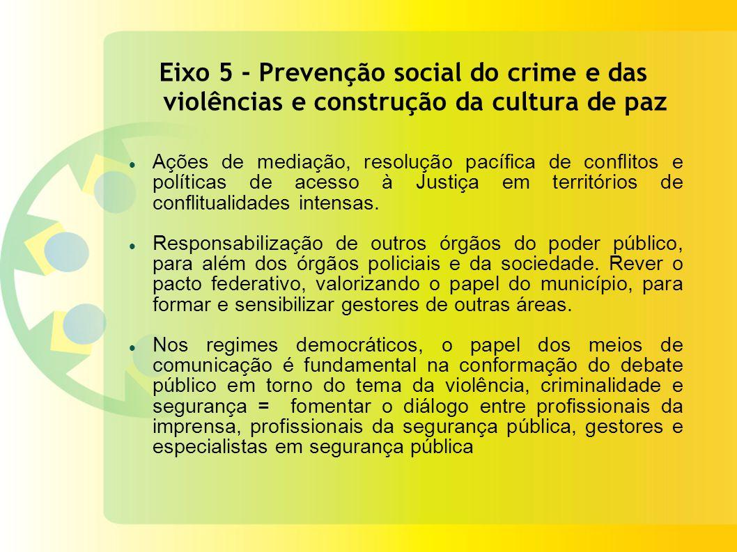 Eixo 5 - Prevenção social do crime e das violências e construção da cultura de paz Ações de mediação, resolução pacífica de conflitos e políticas de acesso à Justiça em territórios de conflitualidades intensas.