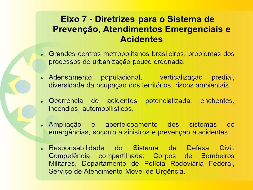 Eixo 7 - Diretrizes para o Sistema de Prevenção, Atendimentos Emergenciais e Acidentes Grandes centros metropolitanos brasileiros, problemas dos processos de urbanização pouco ordenada.