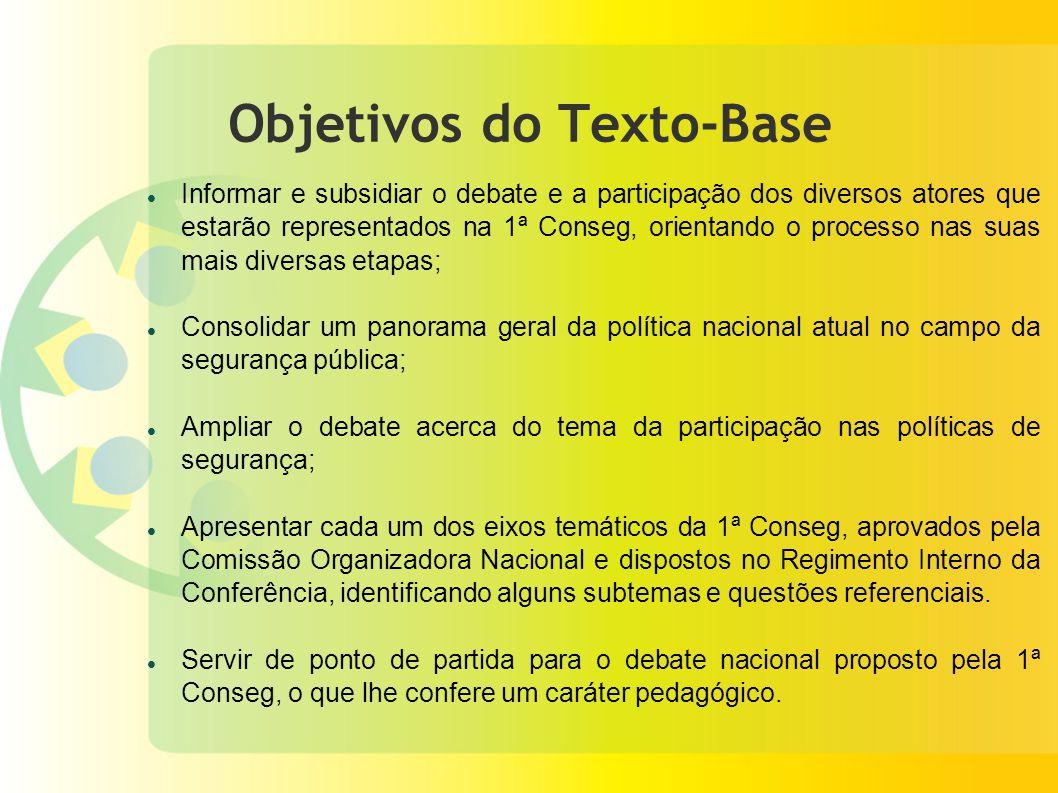 Objetivos do Texto-Base Informar e subsidiar o debate e a participação dos diversos atores que estarão representados na 1ª Conseg, orientando o proces