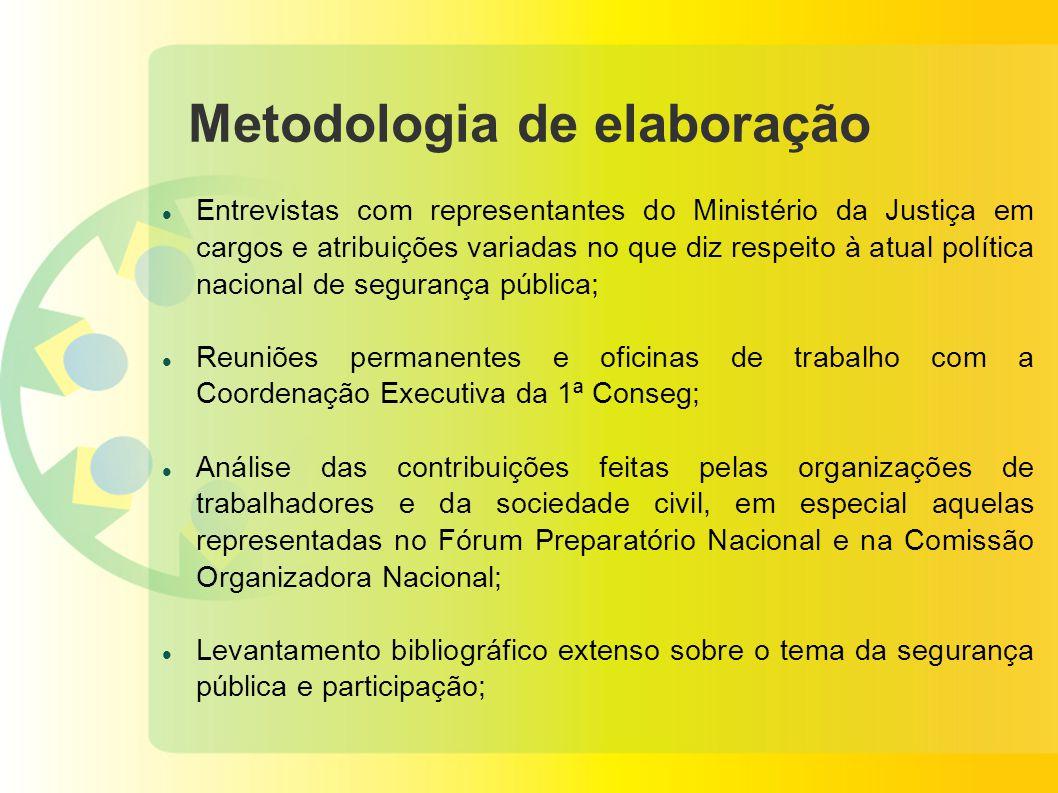Metodologia de elaboração Entrevistas com representantes do Ministério da Justiça em cargos e atribuições variadas no que diz respeito à atual polític