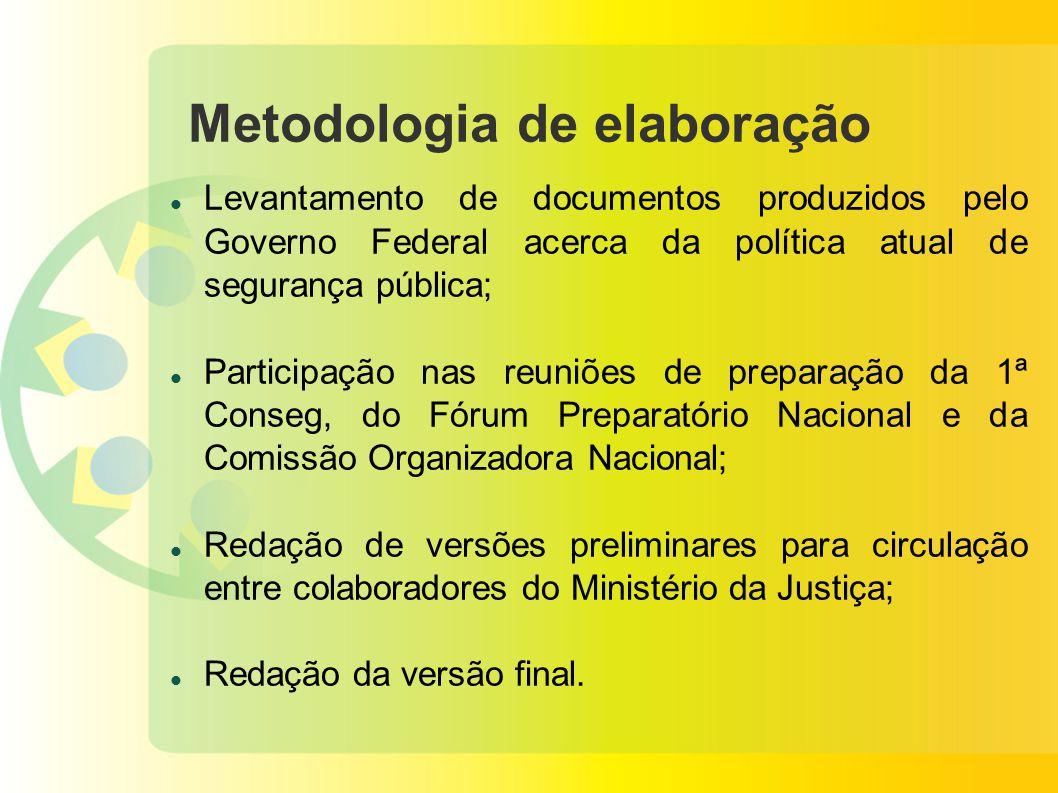 Metodologia de elaboração Levantamento de documentos produzidos pelo Governo Federal acerca da política atual de segurança pública; Participação nas r
