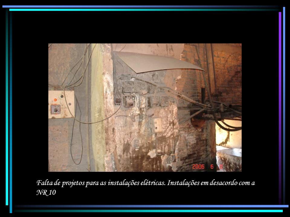 Falta de projetos para as instalações elétricas. Instalações em desacordo com a NR 10