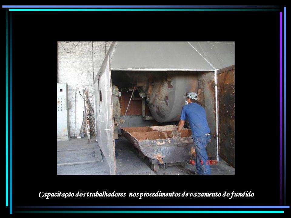 Capacitação dos trabalhadores nos procedimentos de vazamento do fundido