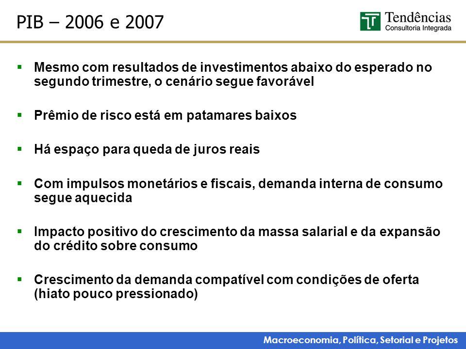 Macroeconomia, Política, Setorial e Projetos PIB – 2006 e 2007  Mesmo com resultados de investimentos abaixo do esperado no segundo trimestre, o cená