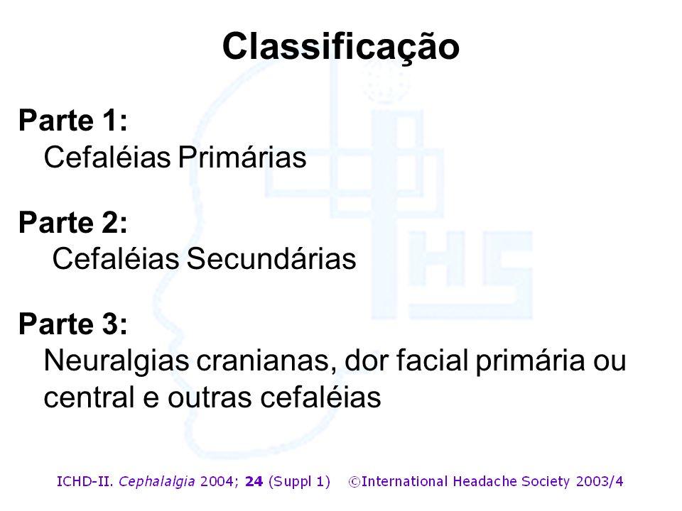Parte 1: Cefaléias Primárias Parte 2: Cefaléias Secundárias Parte 3: Neuralgias cranianas, dor facial primária ou central e outras cefaléias Classific