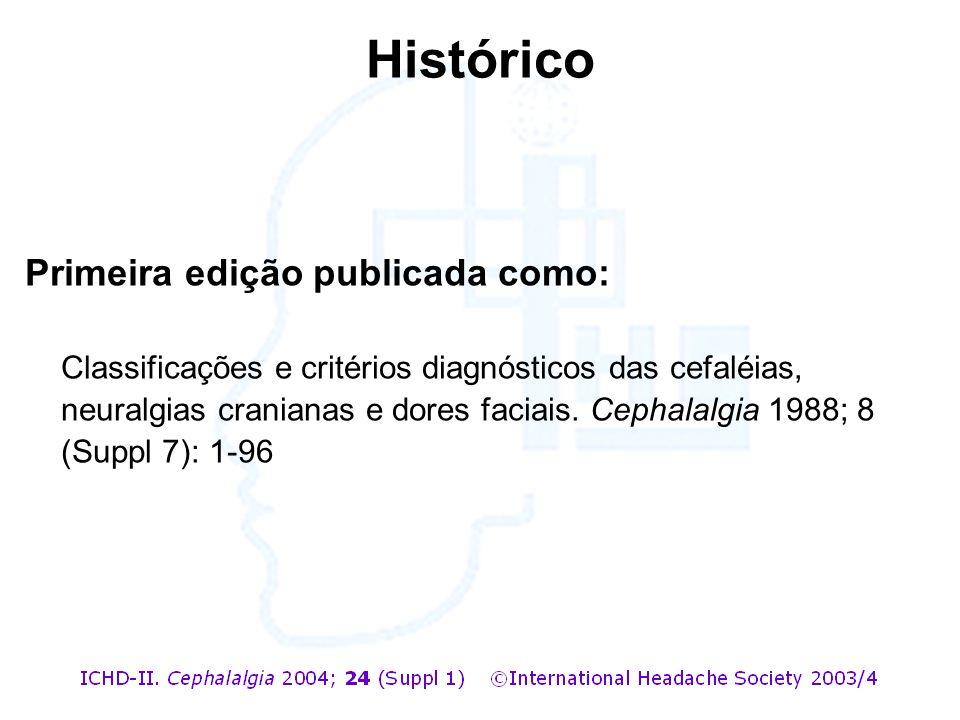 Histórico Primeira edição publicada como: Classificações e critérios diagnósticos das cefaléias, neuralgias cranianas e dores faciais. Cephalalgia 198