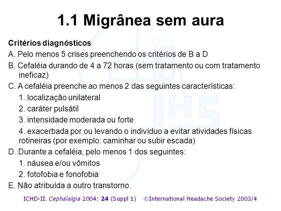 Critérios diagnósticos A. Pelo menos 5 crises preenchendo os critérios de B a D B. Cefaléia durando de 4 a 72 horas (sem tratamento ou com tratamento