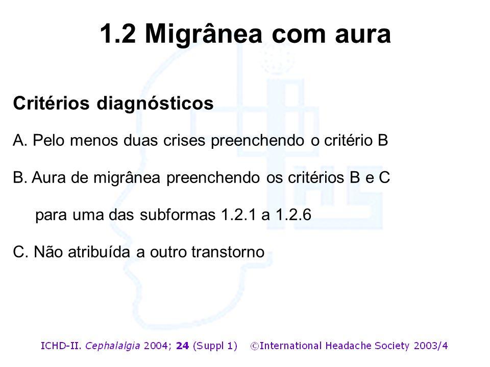 Critérios diagnósticos A. Pelo menos duas crises preenchendo o critério B B. Aura de migrânea preenchendo os critérios B e C para uma das subformas 1.
