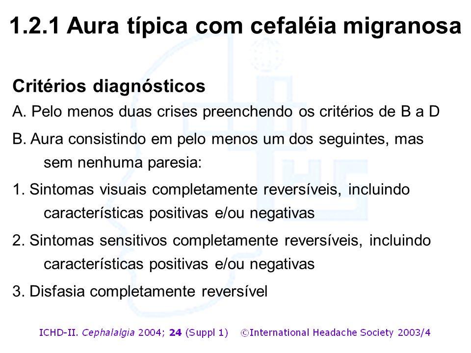Critérios diagnósticos A. Pelo menos duas crises preenchendo os critérios de B a D B. Aura consistindo em pelo menos um dos seguintes, mas sem nenhuma