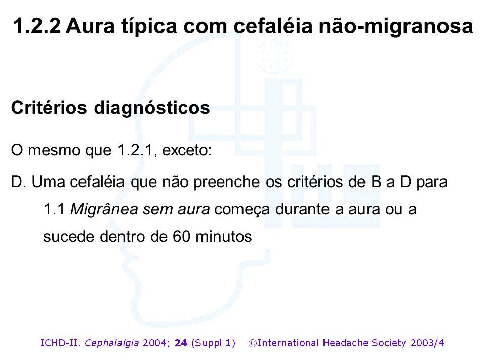 Critérios diagnósticos O mesmo que 1.2.1, exceto: D. Uma cefaléia que não preenche os critérios de B a D para 1.1 Migrânea sem aura começa durante a a
