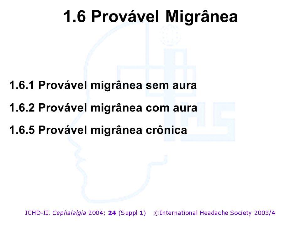1.6.1 Provável migrânea sem aura 1.6.2 Provável migrânea com aura 1.6.5 Provável migrânea crônica 1.6 Provável Migrânea