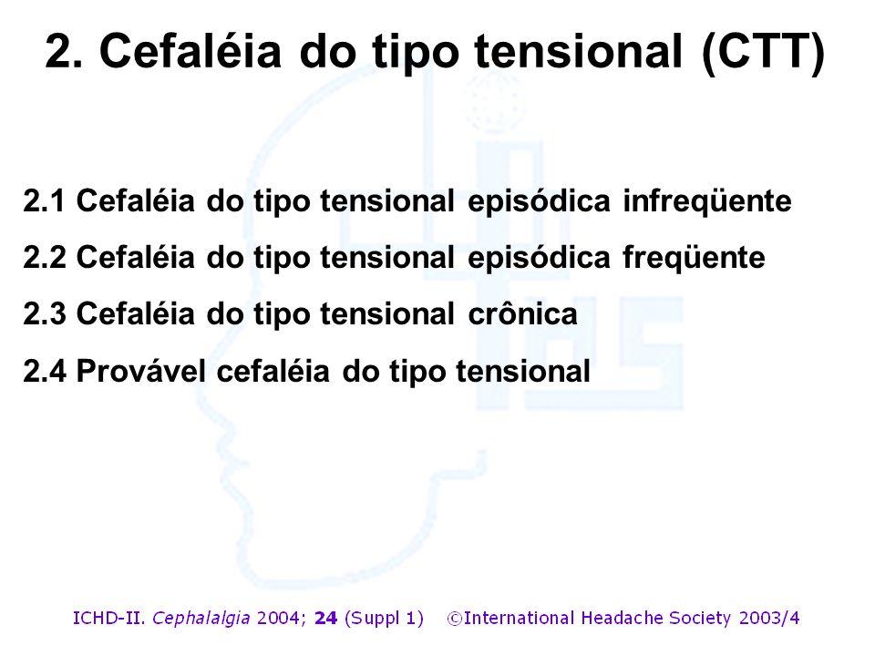 2.1 Cefaléia do tipo tensional episódica infreqüente 2.2 Cefaléia do tipo tensional episódica freqüente 2.3 Cefaléia do tipo tensional crônica 2.4 Pro