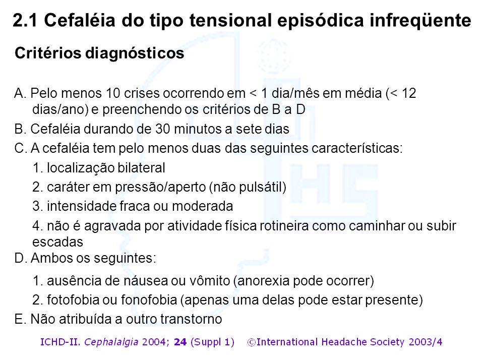 Critérios diagnósticos A. Pelo menos 10 crises ocorrendo em < 1 dia/mês em média (< 12 dias/ano) e preenchendo os critérios de B a D B. Cefaléia duran
