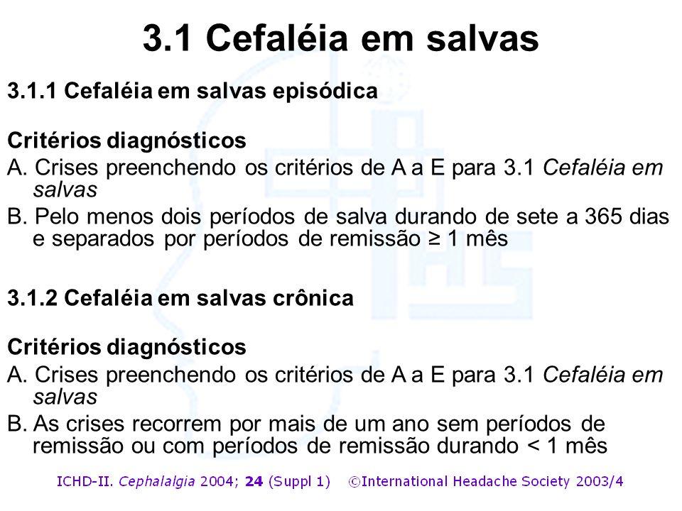 3.1.1 Cefaléia em salvas episódica Critérios diagnósticos A. Crises preenchendo os critérios de A a E para 3.1 Cefaléia em salvas B. Pelo menos dois p