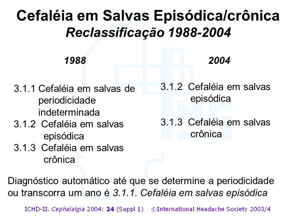 Diagnóstico automático até que se determine a periodicidade ou transcorra um ano é 3.1.1. Cefaléia em salvas episódica 1988 3.1.1Cefaléia em salvas de