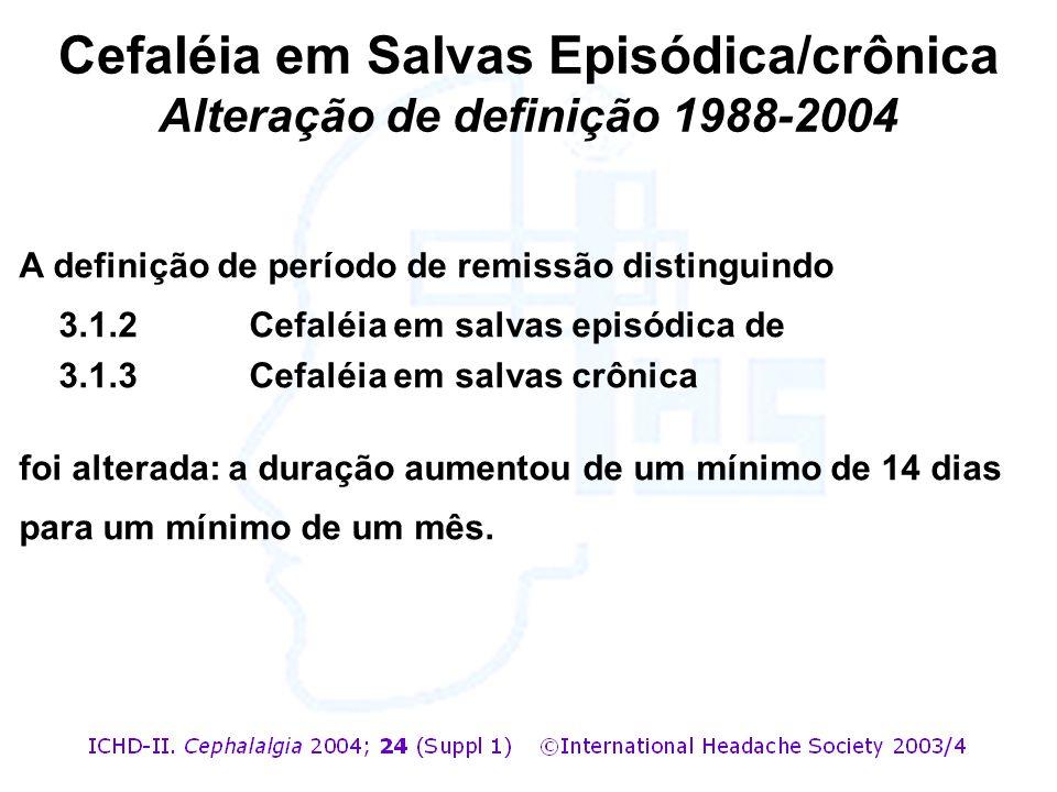 A definição de período de remissão distinguindo 3.1.2 Cefaléia em salvas episódica de 3.1.3 Cefaléia em salvas crônica foi alterada: a duração aumento
