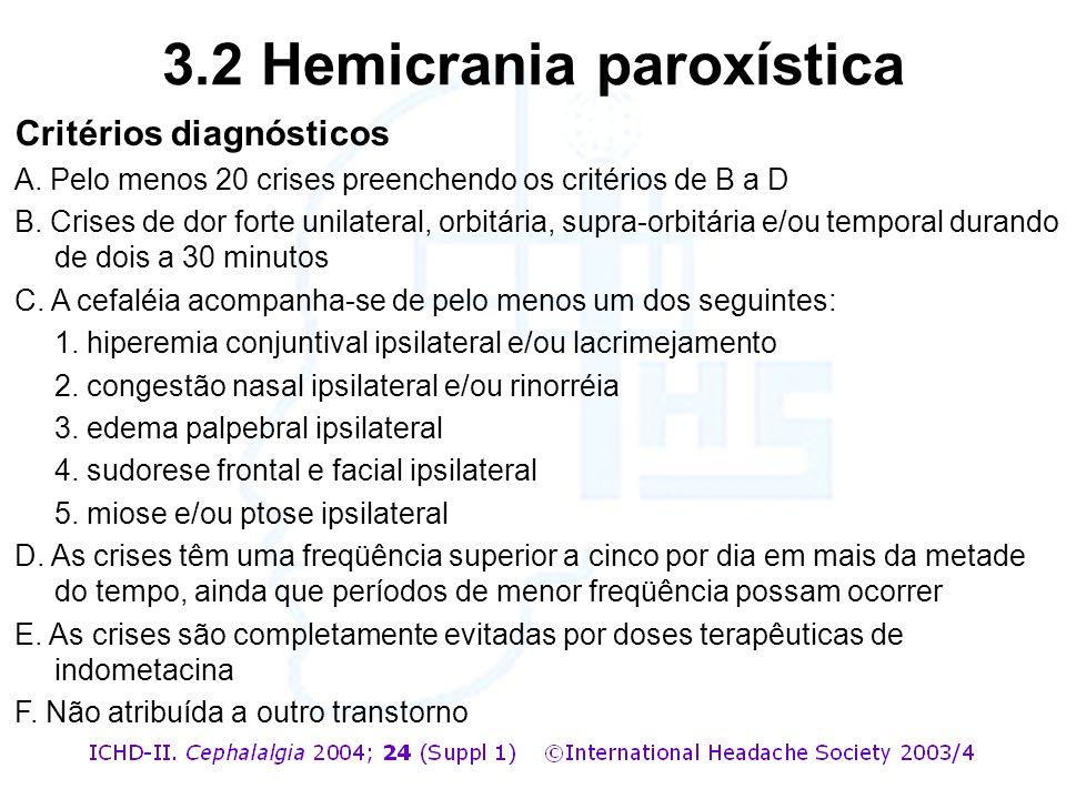 Critérios diagnósticos A. Pelo menos 20 crises preenchendo os critérios de B a D B. Crises de dor forte unilateral, orbitária, supra-orbitária e/ou te