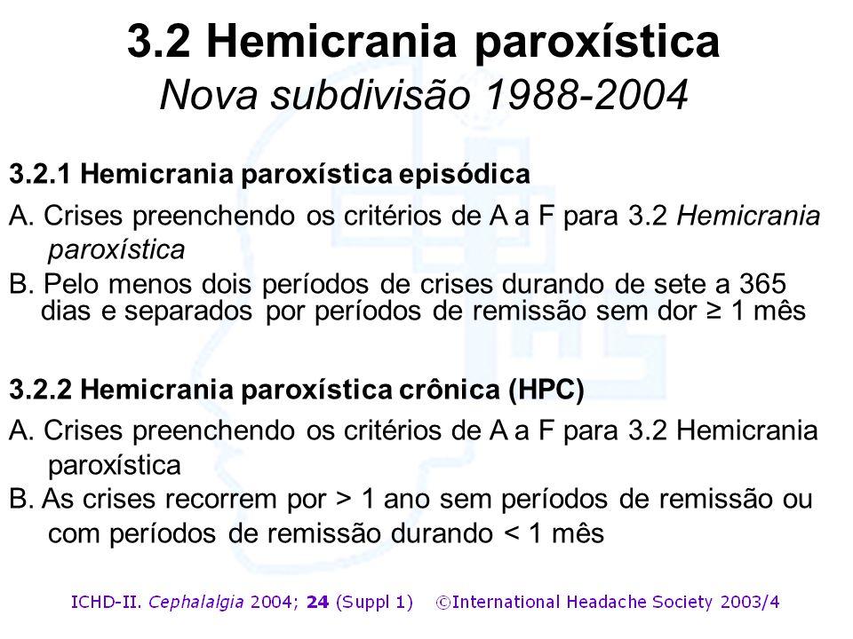 3.2.1 Hemicrania paroxística episódica A. Crises preenchendo os critérios de A a F para 3.2 Hemicrania paroxística B. Pelo menos dois períodos de cris