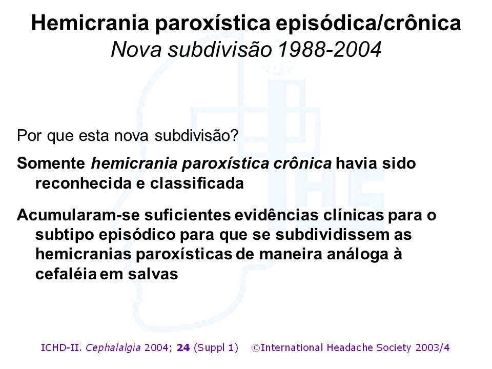 Por que esta nova subdivisão? Somente hemicrania paroxística crônica havia sido reconhecida e classificada Acumularam-se suficientes evidências clínic