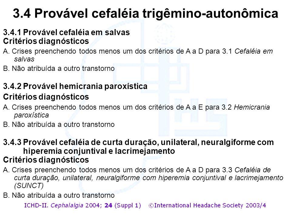 3.4.1 Provável cefaléia em salvas Critérios diagnósticos A. Crises preenchendo todos menos um dos critérios de A a D para 3.1 Cefaléia em salvas B. Nã