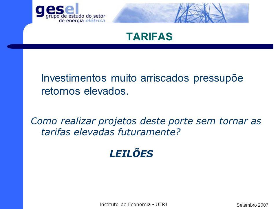 Setembro 2007 Instituto de Economia - UFRJ TARIFAS Fonte: FGV- Projetos R$/MW