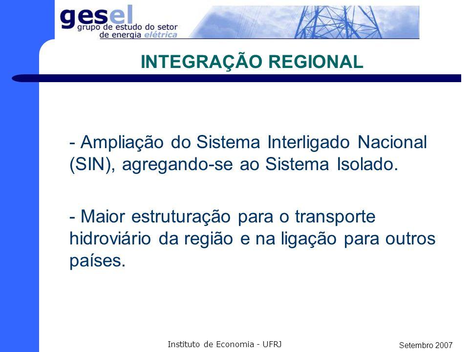 Setembro 2007 Instituto de Economia - UFRJ INTEGRAÇÃO REGIONAL