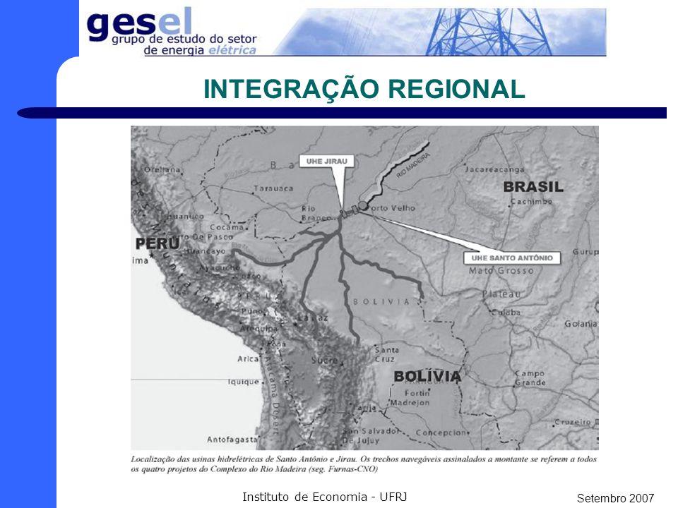 Setembro 2007 Instituto de Economia - UFRJ INTEGRAÇÃO REGIONAL - Ampliação do Sistema Interligado Nacional (SIN), agregando-se ao Sistema Isolado. - M