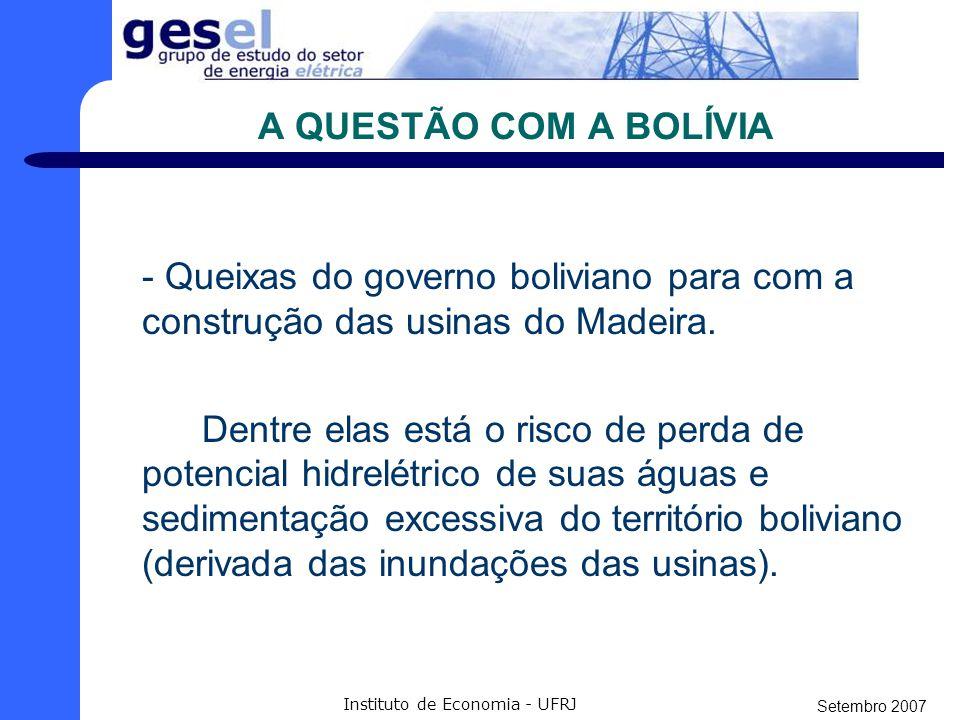 Setembro 2007 Instituto de Economia - UFRJ A QUESTÃO AMBIENTAL Com certeza a questão mais preocupante do projeto. Licença prévia: O vencedor terá de c