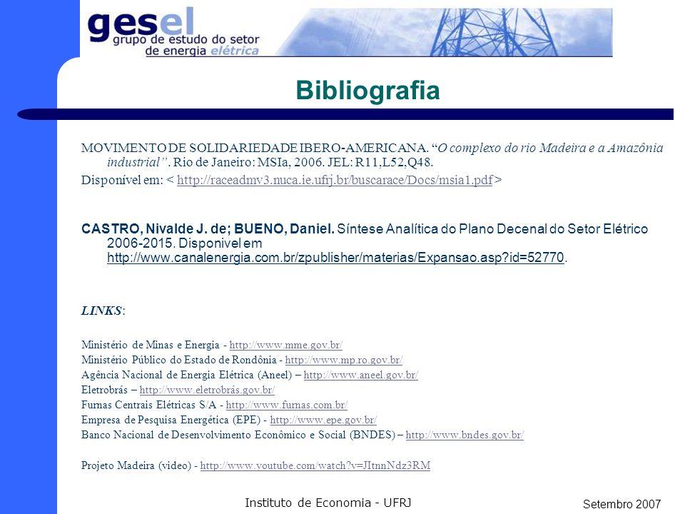 """Setembro 2007 Instituto de Economia - UFRJ Bibliografia COBRAPE (CIA Brasileira de projetos e empreendimentos). """"Relatório de análise do conteúdo dos"""