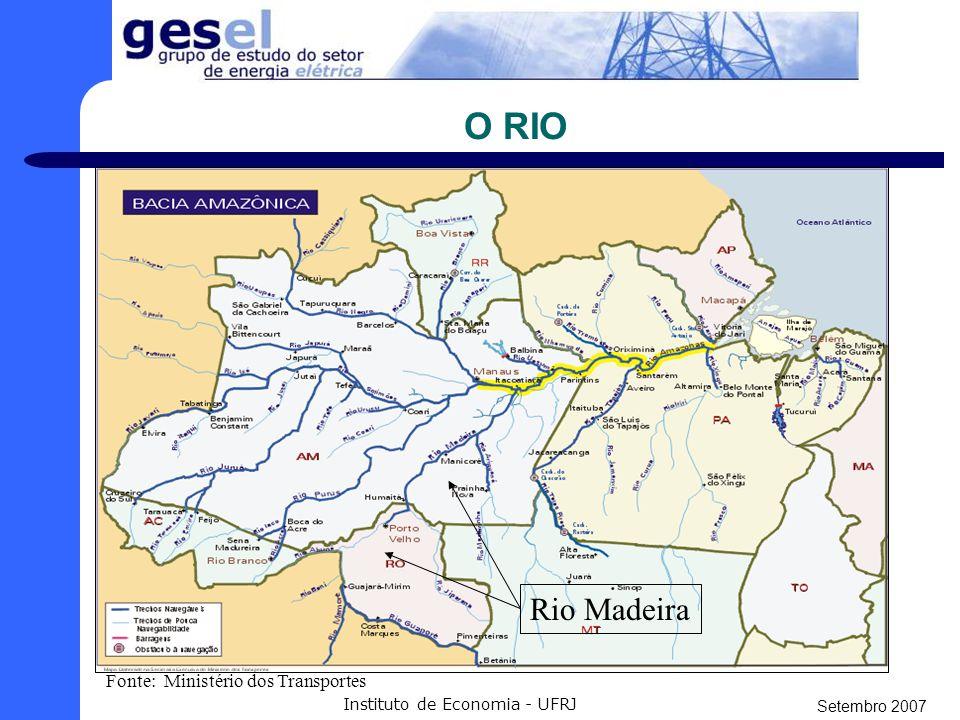 Setembro 2007 Instituto de Economia - UFRJ GERAÇÃO - A UHE Santo Antônio tem potência de: 3.150 MW (2.140 MW médios).