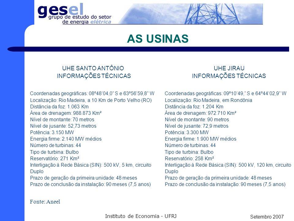 Setembro 2007 Instituto de Economia - UFRJ O RIO Fonte: Ministério dos Transportes Rio Madeira